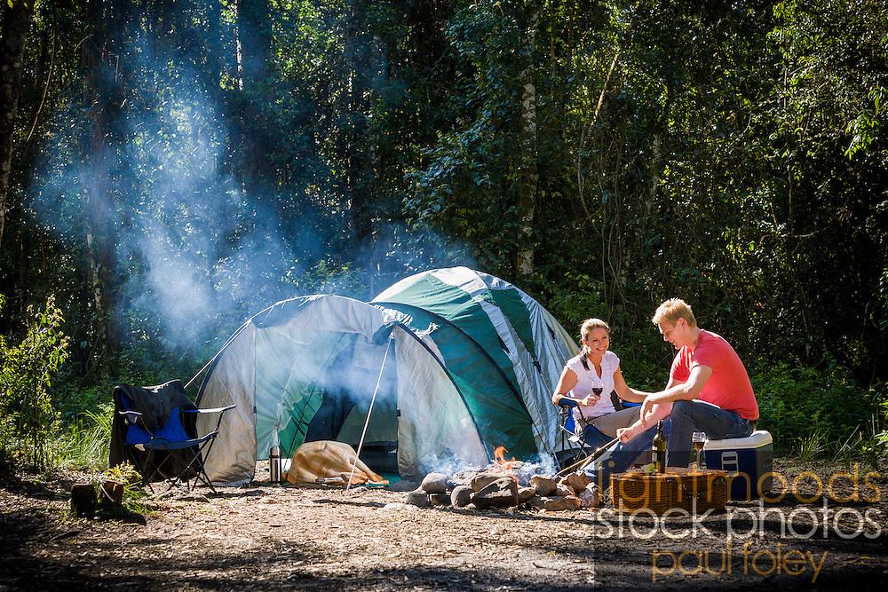 Couple Camping in the Australian Bush, Barrington Tops, NSW.