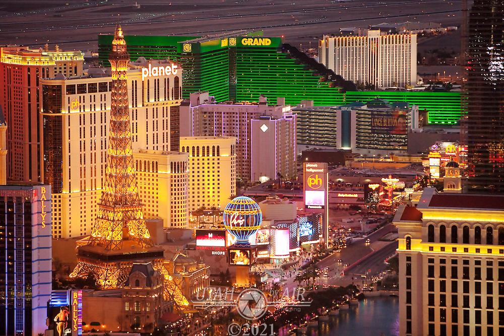 Aerial of Las Vegas Hotels looking South East