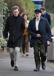 © Licensed to London News Pictures. 29/01/2017. London, UK. Labour party leader Jeremy Corbyn and Director of Strategy and Communications Seumas Milne arrive at ITV Studios with Mr Corbyn's wife Laura Alvarez and James Schneider following on behind. Mr Corbyn is appearing on Peston's Politics.  Photo credit: Peter Macdiarmid/LNP