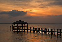 NC01263-00...NORTH CAROLINA - View over Currituck Sound at sunset from the boardwalk at Duck.