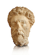 Roman sculpture of the Emperor Marcus Aurelius, excavated  from Carthage made circa 161-180 AD. The Bardo National Museum, Tunis, Inv No: C.965.  Against a white background. .<br /> <br /> If you prefer to buy from our ALAMY STOCK LIBRARY page at https://www.alamy.com/portfolio/paul-williams-funkystock/greco-roman-sculptures.html . Type -    BARDO    - into LOWER SEARCH WITHIN GALLERY box - Refine search by adding a subject, place, background colour, museum etc.<br /> <br /> Visit our CLASSICAL WORLD HISTORIC SITES PHOTO COLLECTIONS for more photos to download or buy as wall art prints https://funkystock.photoshelter.com/gallery-collection/The-Romans-Art-Artefacts-Antiquities-Historic-Sites-Pictures-Images/C0000r2uLJJo9_s0c