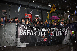 London, UK. 11 October, 2019. Kurdish supporters of the YPG protest outside the BBC's New Broadcasting House in protest against Turkey's ground invasion of Kurdish-held areas in northern Syria and to call for the UK to stop supporting the Turkish government. The latest UN reports suggest that 100,000 people have already fled their homes in Northern Syria as a result of the Turkish assault.