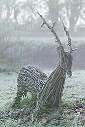 Woven hazel deer in frost