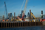 Construction site pontoon on te River Thames at Rotherhithe where redevelopment is taking place across from the City of London, England, United Kingdom. (photo by Mike Kemp/In Pictures via Getty Images)