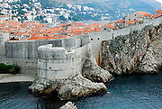 Elevated view from Fortress Lovrinjenac (Fort of Saint Lawrence) of Dubrovnik old town and Fortress Bokar