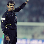 Referee's Suleyman ABAY during their Turkish soccer superleague match Bursaspor between Trabzonspor at Ataturk Stadium in Bursa Turkey on Saturday, 22 October 2011. Photo by TURKPIX