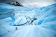 Team NorCal (USA) descend into an ice canyon on Glacier Tyndall in Chilean Patagonia during the 11th edition of the Patagonian Expedition Race, February 12, 2013.