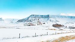 THEMENBILD - Klofningsvegur Dalabyggo, Staoearholskirkja, aufgenommen am 23. Oktober 2019 in Island // Klofningsvegur  Dalabyggo, Iceland on 2019/10/23. EXPA Pictures © 2019, PhotoCredit: EXPA/ Peter Rinderer