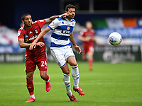 Football - 2019 / 2020 Sky Bet (EFL) Championship - Queens Park Rangers vs. Fulham<br /> <br /> Queens Park Rangers' Yoann Barbet holds off the challenge from Fulham's Anthony Knockaert, at Kiyan Prince Foundation Stadium (Loftus Road).<br /> <br /> COLORSPORT/ASHLEY WESTERN