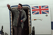 Released hostage Terry Waite waves as he steps out of an RAF aircraft, 5 years after being taken hostage by Jihadists in Lebanon, on 19th November 1991, in Lyneham, England. Terry Waite CBE born 1939 is an English humanitarian and author who was then Assistant for Anglican Communion Affairs for the then Archbishop of Canterbury, Robert Runcie, in the 1980s. As an envoy for the Church of England, he travelled to Lebanon to try to secure the release of four hostages, including the journalist John McCarthy. He was himself kidnapped and held captive from 1987 to 1991.