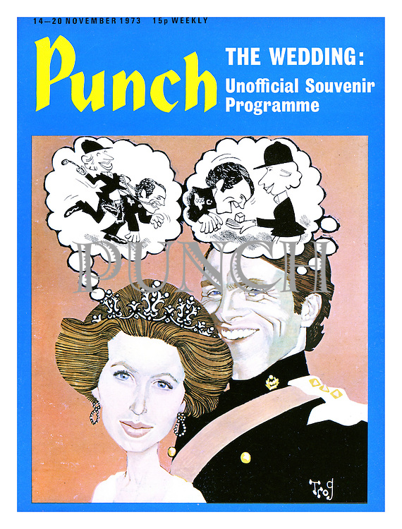 Princess Anne and Captain Mark Phillips wedding issue - Punch Front Cover - 14th November 1973