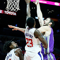 12 October 2017: Sacramento Kings center Kosta Koufos (41) goes for the baby hook over LA Clippers guard Lou Williams (23) and LA Clippers center DeAndre Jordan (6) during the LA Clippers 104-87 victory over the Sacramento Kings, at the Staples Center, Los Angeles, California, USA.