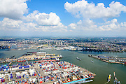 Nederland, Zuid-Holland, Rotterdam, 10-06-2015;  Waalhaven (WestZijde) gezien naar rivier de Nieuwe Maas.<br /> Uniport Multipurpose Terminals container terminal in de voorgrond.<br /> Waal harbour (West side) seen in the direction of Nieuwe Maas river.<br /> luchtfoto (toeslag op standard tarieven);<br /> aerial photo (additional fee required);<br /> copyright foto/photo Siebe Swart
