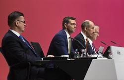 Germany, Bonn  -  April 13, 2018.Annual press conference of  Covestro AG  .From left Klaus Schaefer, Markus Steilemann, Thomas Toepfer and Patrick Thomas (Credit Image: © Sepp Spiegel/Ropi via ZUMA Press)