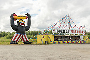 A giant inflatable gorilla outside a fireworks stand in a rural section of Alaska outside Fairbanks, Alaska.