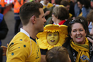 Bernard Foley of Australia chats to Australia fans at the end of the game, Under Armour 2016 series international rugby, Wales v Australia at the Principality Stadium in Cardiff , South Wales on Saturday 5th November 2016. pic by Andrew Orchard, Andrew Orchard sports photography