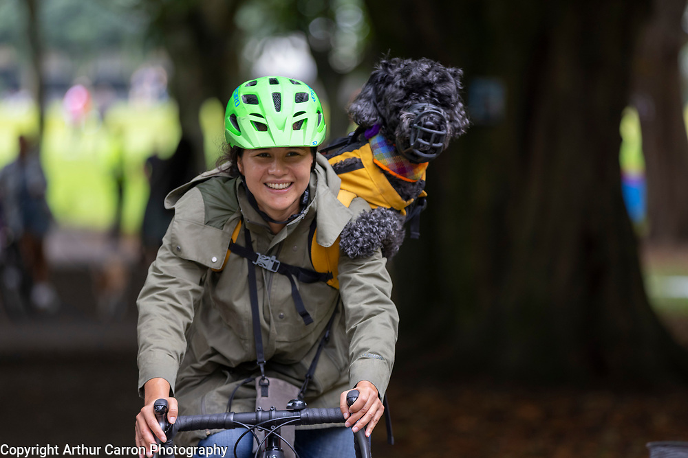 NO FEE PICTURES<br />12/9/21 Sabrina Dekker, with her dog JoJo pictured at 'Pedalpalooza', a free multi-activity event celebrating all aspects of cycling through workshops, entertaining talks and fun activities. Organised by Dublin City Council at Fairview Park in Dublin. Pictures: Arthur Carron