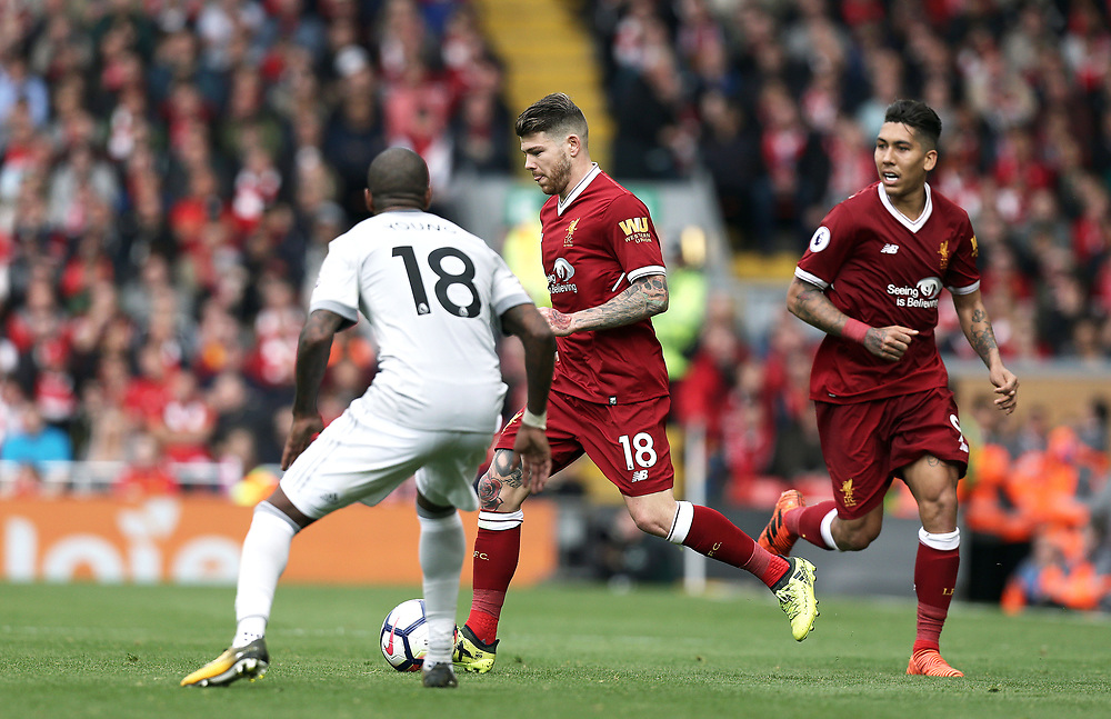 Liverpool's Alberto Moreno looks to run past Manchester United's Ashley Young<br /> <br /> Photographer Rich Linley/CameraSport<br /> <br /> The Premier League - Liverpool v Manchester United - Saturday 14th October 2017 - Anfield - Liverpool<br /> <br /> World Copyright © 2017 CameraSport. All rights reserved. 43 Linden Ave. Countesthorpe. Leicester. England. LE8 5PG - Tel: +44 (0) 116 277 4147 - admin@camerasport.com - www.camerasport.com