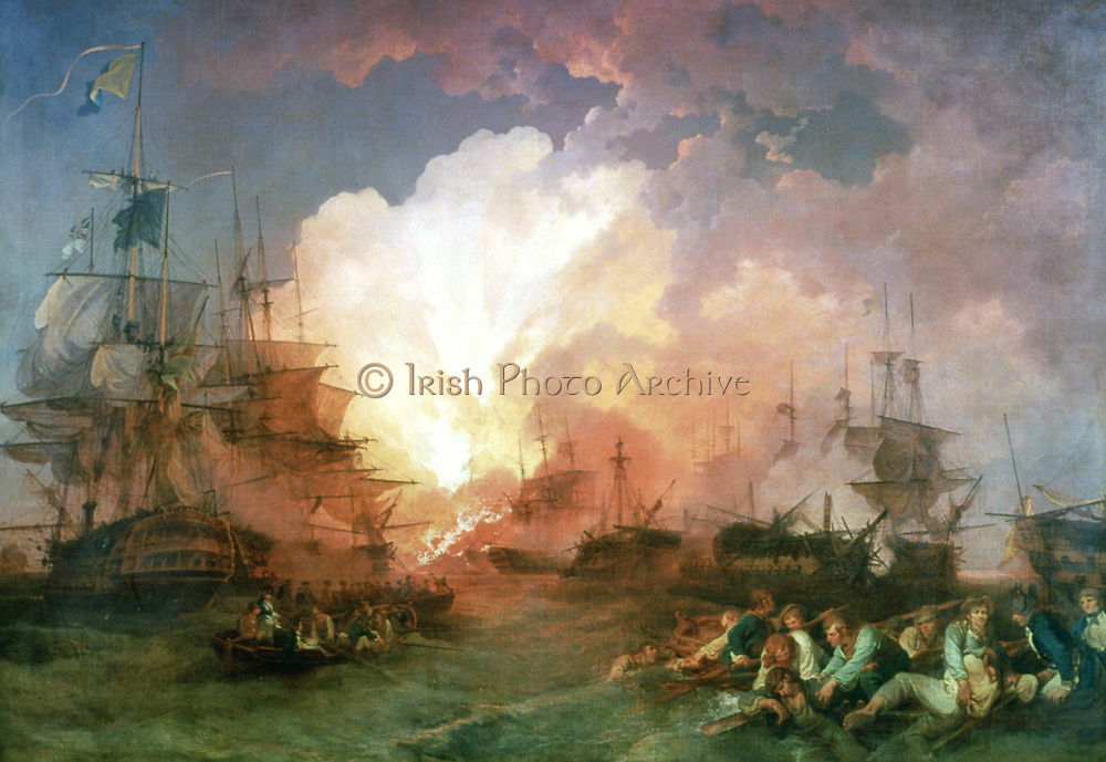 The Battle of the Nile', 1800. The battle was fought at night in Abu Qir Bay, near Alexandria, Nelson found the French fleet at anchor and attacked. Artist Philip James de Louthbourg (1740-1812) French artist. Oil on canvas.