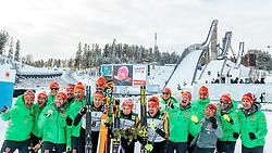 24.02.2017, Lahti, FIN, FIS Weltmeisterschaften Ski Nordisch, Lahti 2017, Nordische Kombination, Langlauf, im Bild Bronzemedaillen Gewinner Bjoern Kircheisen (GER), Goldmedaillen Gewinner Johannes Rydzek (GER), Silbermedaillen Gewinner Eric Frenzel (GER) mit dem Betreuern und Trainern // Bronze Medalist Bjoern Kircheisen of Germany Gold Medalist Johannes Rydzek of Germany Silver Medalist Eric Frenzel of Germany celebrate with the German Team during Flower Ceremony of the Nordic Combined Competition of FIS Nordic Ski World Championships 2017. Lahti, Finland on 2017/02/24. EXPA Pictures © 2017, PhotoCredit: EXPA/ JFK