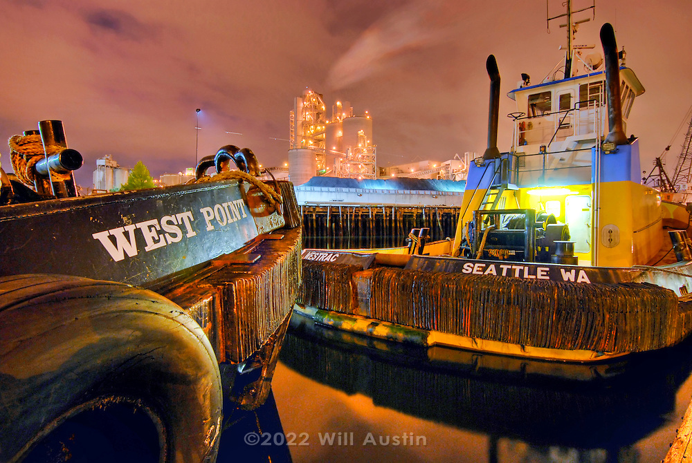 Tugboats and factory on the Duwamish River in Seattle