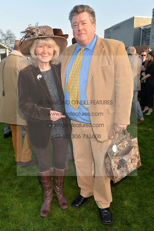 JILLY COOPER and her son FELIX COOPER at the 2014 Hennessy Gold Cup at Newbury Racecourse, Newbury, Berkshire on 29th November 2014.  The Gold Cup was won by Many Clouds ridden by Leighton Aspell.