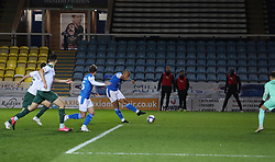 Jonson Clarke-Harris of Peterborough United scores his sides only goal of the game - Mandatory by-line: Joe Dent/JMP - 24/11/2020 - FOOTBALL - Weston Homes Stadium - Peterborough, England - Peterborough United v Plymouth Argyle - Sky Bet League One