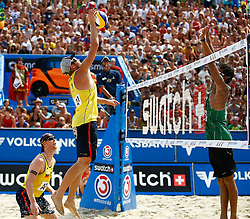 07.08.2011, Klagenfurt, Strandbad, AUT, Beachvolleyball World Tour Grand Slam 2011, im Bild Julius Brink (GER) und Jonas Reckermann (GER) gegen Joao Brink (BRA), EXPA Pictures © 2011, PhotoCredit: EXPA/ Erwin Scheriau