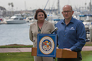 March 17, 2016 - San Diego, California, U.S. - <br /> <br /> At a press conference in San Diego on Thursday, March 17, 2016 SeaWorld San Diego Park President John Reilly, blue shirt, not shown, Assembly Speaker Emeritus Toni Atkins (D-San Diego) , and Assembly member Richard Bloom (D-Santa Monica), gray suit and red tie,  announced and talked about the marine park's decision to stop captive breeding of Orcas and phase out their orca shows. <br /> ©Exclusivepix Media