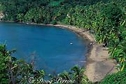 fishermen pull boat onto beach on northwest coast of Dominica ( Eastern Caribbean )
