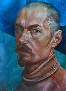 Self-portrait, 1918.  Kuzma Petrov-Vodkin (1878-1939) Russian painter. Head-and-shoulders. Male