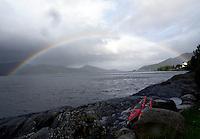 Kayaks and rainbow by Vågsfjorden - Kajakker og regnbue, Vågsfjorden, Sogn og Fjordane