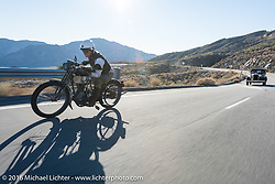 Dean Bordigioni of California riding his Class-1 single-cylinder single-speed 1914 Harley-Davidson up the steep mountain pass just out of Palm Desert on the Palms to Pines Scenic Byway on the last day of the Motorcycle Cannonball Race of the Century. Stage-15 ride from Palm Desert, CA to Carlsbad, CA. USA. Sunday September 25, 2016. Photography ©2016 Michael Lichter.