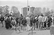 Kingston on Thames, United Kingdom.  Crews, Coaches and competitors, crowd round, waiting before for the instructions befote the event start of The final Round of the Leyland Daf Sprint series, at Kingston RC on the River Thames, Surrey, England, <br /> <br /> Saturday 04.05.1987<br /> <br /> [Mandatory Credit; Peter Spurrier/Intersport-images] 1987 Leyland Daf Sprints, Kingston. UK