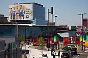 Area around Stratford in East London, home to the 2012 Olympic Games. Looking towards the transport hub and Westfield Shopping Centre.