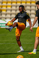 Dolly Menga of Livingston warms up ahead of the Ladbrokes Scottish Premiership match between Livingston and St Mirren at Tony Macaroni Arena, Livingstone, Scotland on 20 April 2019.
