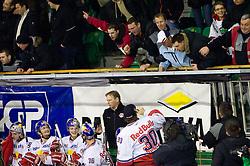 Fans of Olimpija talks to players of Salzburg during ice-hockey match between HDD Tilia Olimpija Ljubljana (SLO) and EC Red Bull Salzburg (AUT) in 2nd Quaterfinals of EBEL league, on March 1, 2011 in Hala Tivoli, Ljubljana, Slovenia. (Photo By Vid Ponikvar / Sportida.com)
