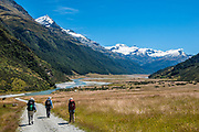 Hiking along Rees River under snowy Mt Earnslaw (or Pikirakatahi 2830m / 9249 ft) on Rees Station, Rees-Dart Track, Otago region, South Island of New Zealand. In 5 days, we tramped the strenuous Rees-Dart Track for 39 miles plus 12.5 miles side trip to spectacular Cascade Saddle, in Mount Aspiring National Park.