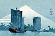 Sailing boats, Mount Fuji in background, 1900-1920. Konen Uehera (1878-1940) Japanese artist.  Water Blue White