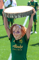 May 13, 2018 - Portland, OR, U.S. - PORTLAND, OR - MAY 13: Porltand Timbers midfielder Sebastián Blanco, aka ''Chucky'', lifts his wooden slab trophy for scoring the winning goal of the Portland Timbers 1-0 victory over the Seattle Sounders on May 13, 2018, at Providence Park in Portland, OR. (Photo by Diego Diaz/Icon Sportswire) (Credit Image: © Diego Diaz/Icon SMI via ZUMA Press)