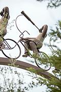 """Detail of Bicyclist sculpture in Parque Bicentenario in Santiago, Chile """"La Búsqueda"""" by Hernán Puelma"""