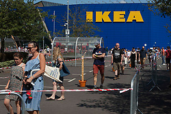 © Licensed to London News Pictures. 01/06/2020. London, UK. Customers standing in the queue to enter IKEA at Greenwich, south London as it reopens to the public following the introduction of measures to bring England out of the lockdown. Photo credit: Marcin Nowak/LNP