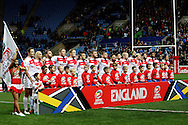 England line up before the Ladbrokes Four Nations match between England and Scotland at the Ricoh Arena, Coventry, England on 5 November 2016. Photo by Craig Galloway.
