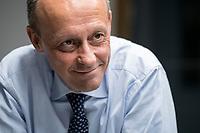 08 NOV 2018, BERLIN/GERMANY:<br /> Friedrich Merz, CDU, Rechtsanwalt, Manager und Kandidat fuer das Amt des Bundesvorsitzenden der CDU, waehrend einem Interview, Pariser Platz 6a<br /> IMAGE: 20181108-03-036