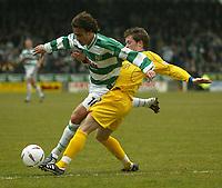 Fotball<br /> Photo. Andrew Unwin, Digitalsport<br /> NORWAY ONLY<br /> <br /> Yeovil v Cheltenham, Nationwide League Division Three, Huish Park, Yeovil 10/04/2004.<br /> Cheltenham's Graham Fyfe (r) looks to tackle Yeovil's Andrew Lindegaard (l).