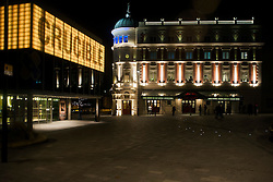 Crucible and Lyceum Theaters light up for the evening viewed from Norfolk Street in Sheffield..8 November 2012.Image © Paul David Drabble
