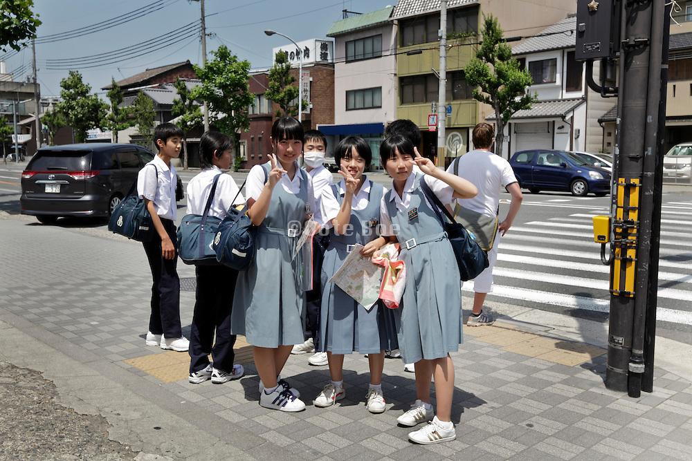 Japanese teenager school kids