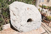 Israel, Northern coastal plains, Kibbutz Nahsholim, The Maritime Museum an anchoring stone 9th Century BCE (weighing 850Kg) found at Dor Port