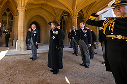 The Prince of Wales, The Princess Royal, The Duke of Cambridge and The Earl of Wessex follow the Land Rover Defender carrying the Duke of Edinburgh's coffin during the funeral of the Duke of Edinburgh at Windsor Castle, Berkshire.Picture date: Saturday April 17, 2021.