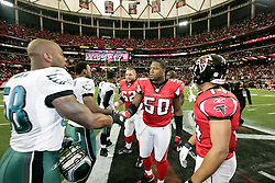 Atlanta Falcons linebacker Curtis Lofton #50 before the cointoss before the NFL game between the Philadelphia Eagles and the Atlanta Falcons on December 7th 2009. The Eagles won 34-7 at The Georgia Dome in Atlanta, Georgia. (Photo By Brian Garfinkel)